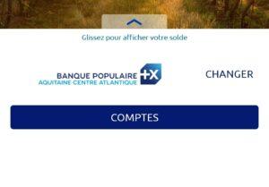 Première page de l'application Banque Populaire
